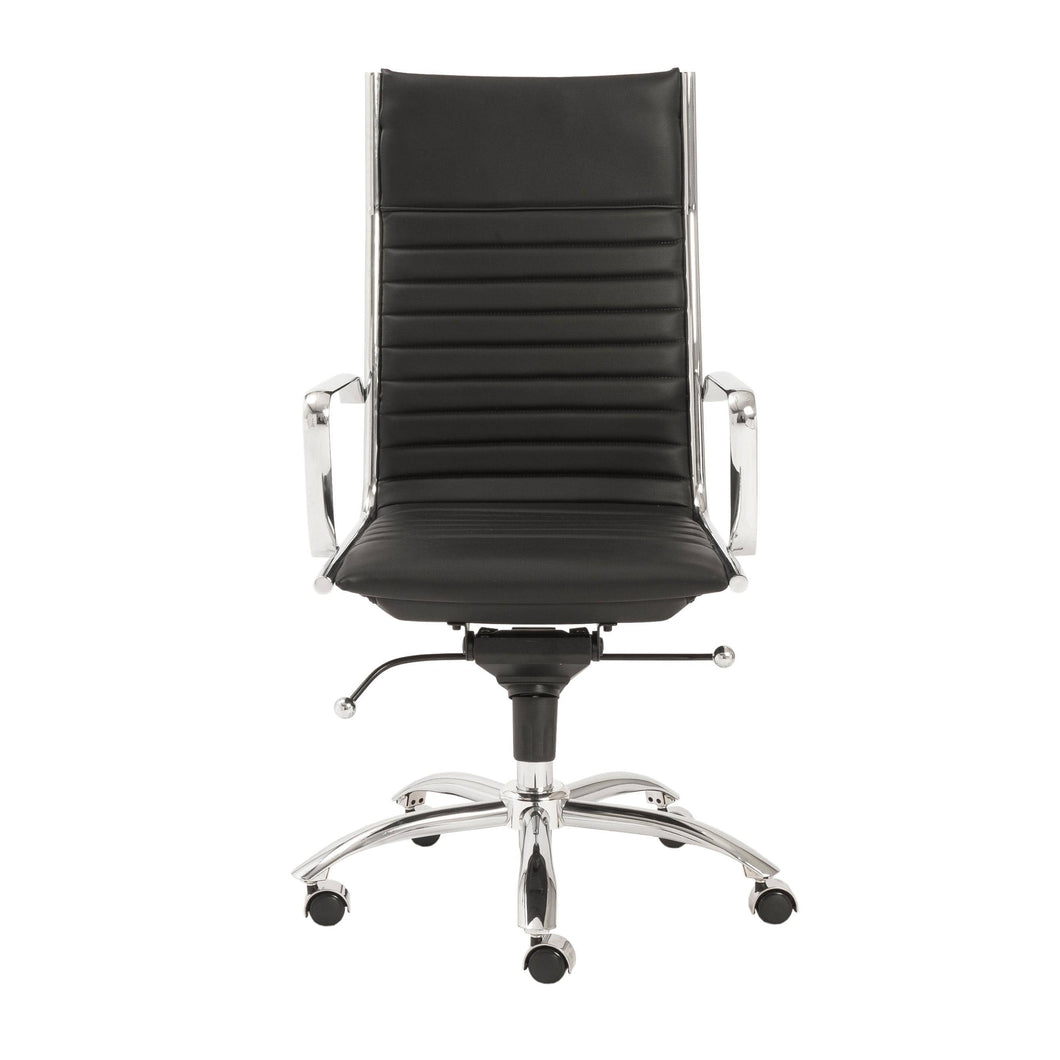 eurostyle Dirk High Back Office Chair in Black with Chromed Steel Base 00675BLK 727511917053