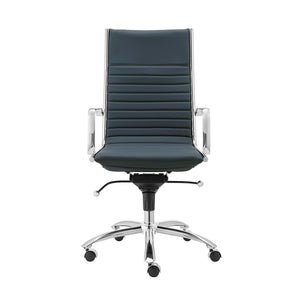 eurostyle Dirk High Back Office Chair in Black with Chromed Steel Base 00675BLU 727511974124