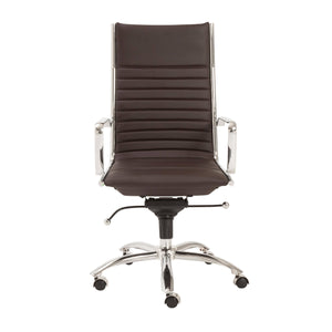 eurostyle Dirk High Back Office Chair in Black with Chromed Steel Base 00675BRN 727511921685