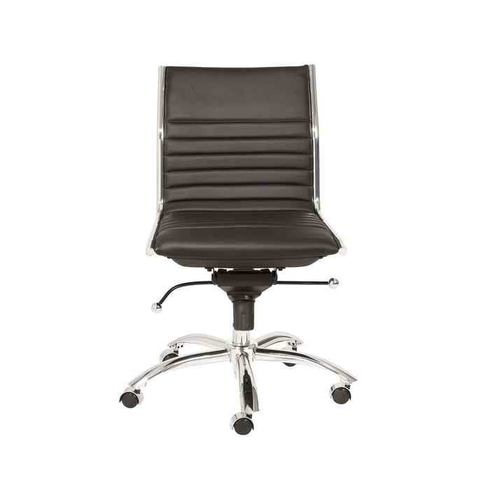 Dirk Low Back Office Chair w/o Armrests in Black with Chromed Steel Base