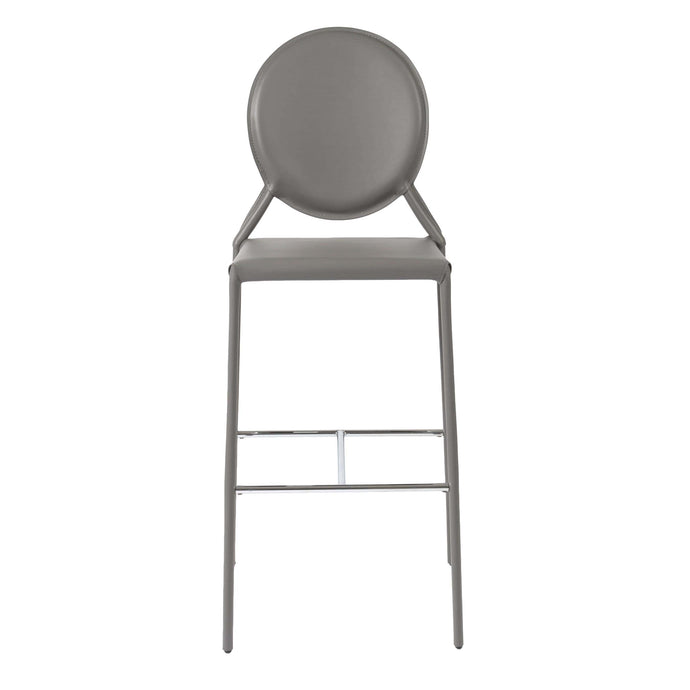 eurostyle Isabella Bar Stool in Gray with Polished Stainless Steel Foot Rest - Set of 2 12482GRY 727511964033