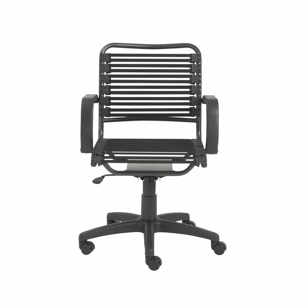 Bungie Flat Mid Back Office Chair in Black with Graphite Black Frame and Black Base