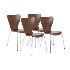 eurostyle Tendy Pro Stacking Side Chair in American Walnut with Chrome Legs - Set of 4 02839WAL 727511922811