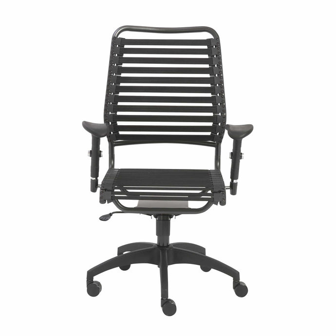 eurostyle Baba Flat High Back Office Chair in Black with Graphite Black Frame and Black Base 02971BLK 727511939055