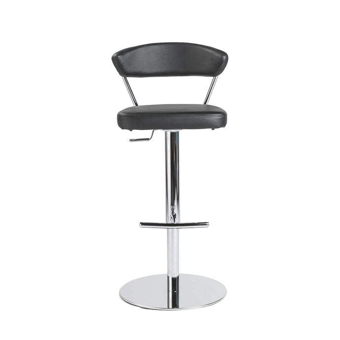 eurostyle Draco Adjustable Swivel Bar/Counter Stool in Black with Chrome Base 05105BLK 727511943434