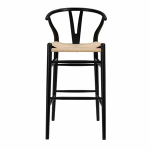 Evelina-B Bar Stool in Black Frame and Natural Seat