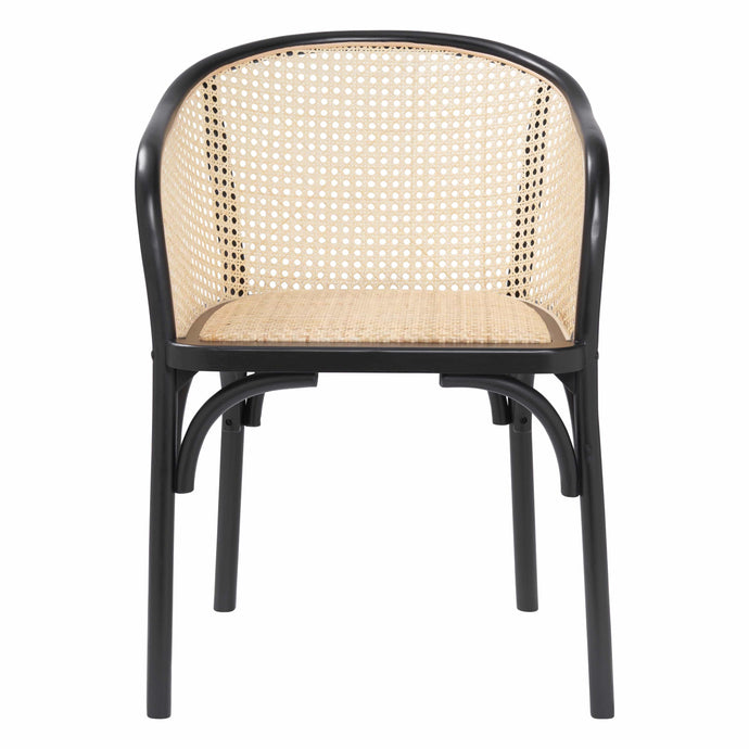 eurostyle Elsy Arm Chair in Black with Natural Rattan Seat - Set of 2 08190BLK 727511974636