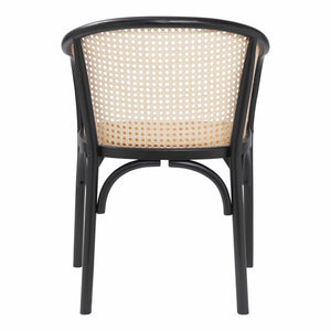 eurostyle Elsy Arm Chair in Black with Natural Rattan Seat - Set of 2