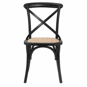 eurostyle Neyo Side Chair in Black with Natural Rattan Seat - Set of 2 08196BLK 727511974650