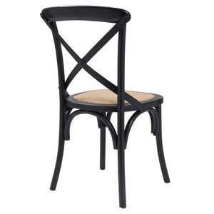eurostyle Neyo Side Chair in Black with Natural Rattan Seat - Set of 2