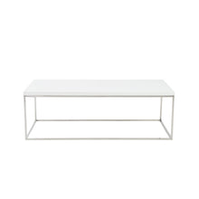 Load image into Gallery viewer, Teresa Rectangle Coffee Table in White with Polished Stainless Steel Base