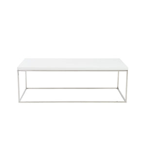 Teresa Rectangle Coffee Table in White with Polished Stainless Steel Base