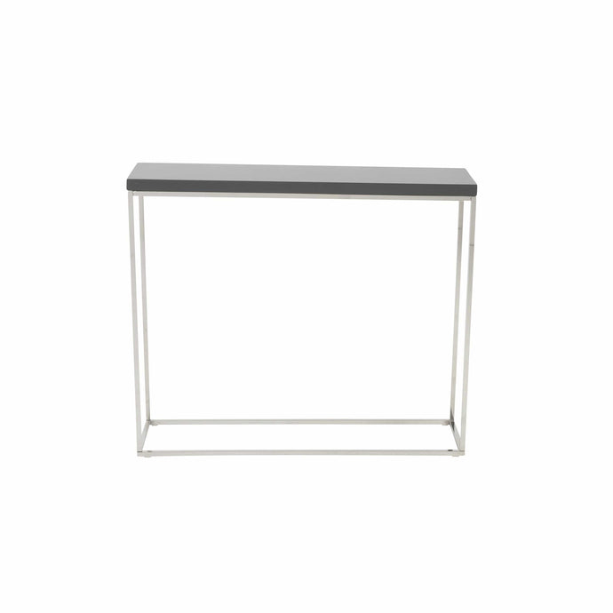 eurostyle Teresa Console Table in Gray Lacquer with Polished Stainless Steel Frame 09803GRY 727511917909
