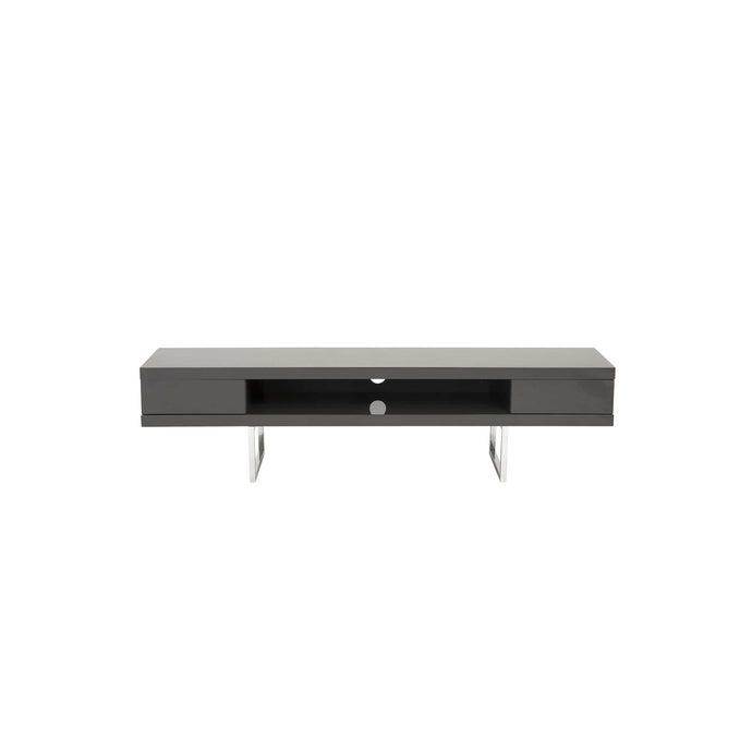 eurostyle Miranda TV Stand in High Gloss Gray with Polished Stainless Steel Legs 09819GRY 727511916094