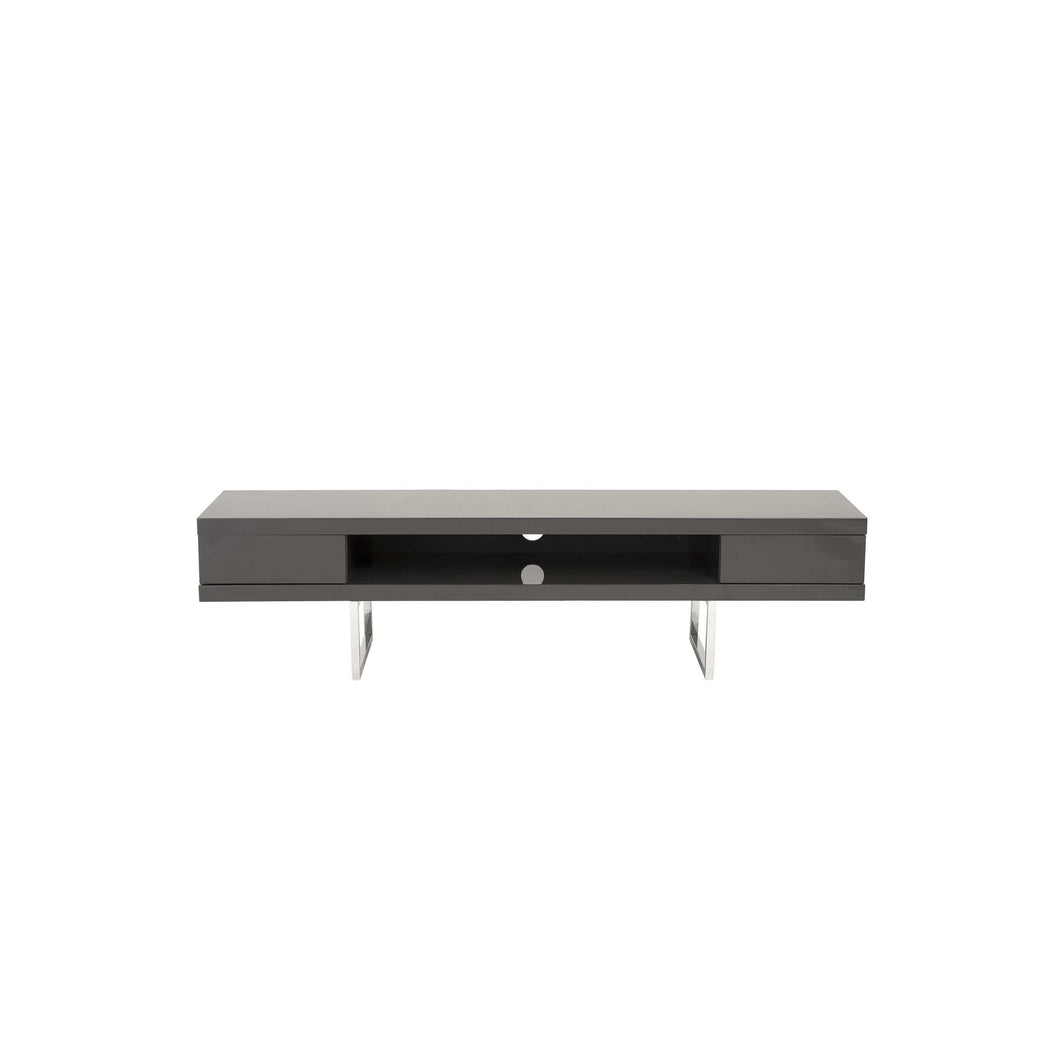 Miranda TV Stand in High Gloss Gray with Polished Stainless Steel Legs
