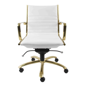 Dirk Low Back Office Chair in White with Brushed Gold Base