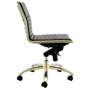 Dirk Low Back Gold Frame Office Chair w/o Armrests