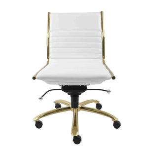 Dirk Low Back Office Chair w/o Armrests in White with Brushed Gold Base