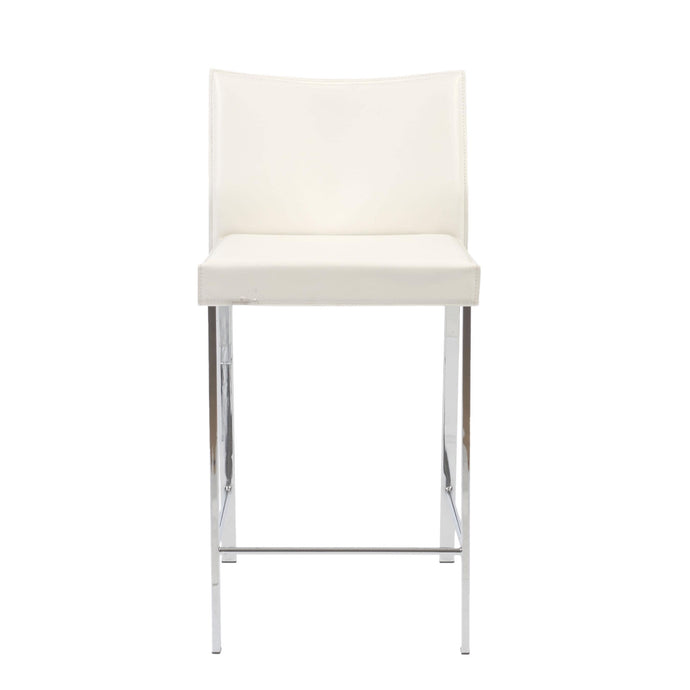 eurostyle Riley-C Counter Stool in White with Chrome Legs - Set of 2 17221WHT 727511911068