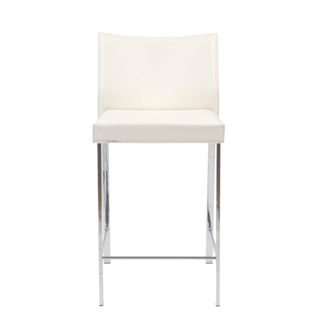 Riley-C Counter Stool in White with Chrome Legs - Set of 2