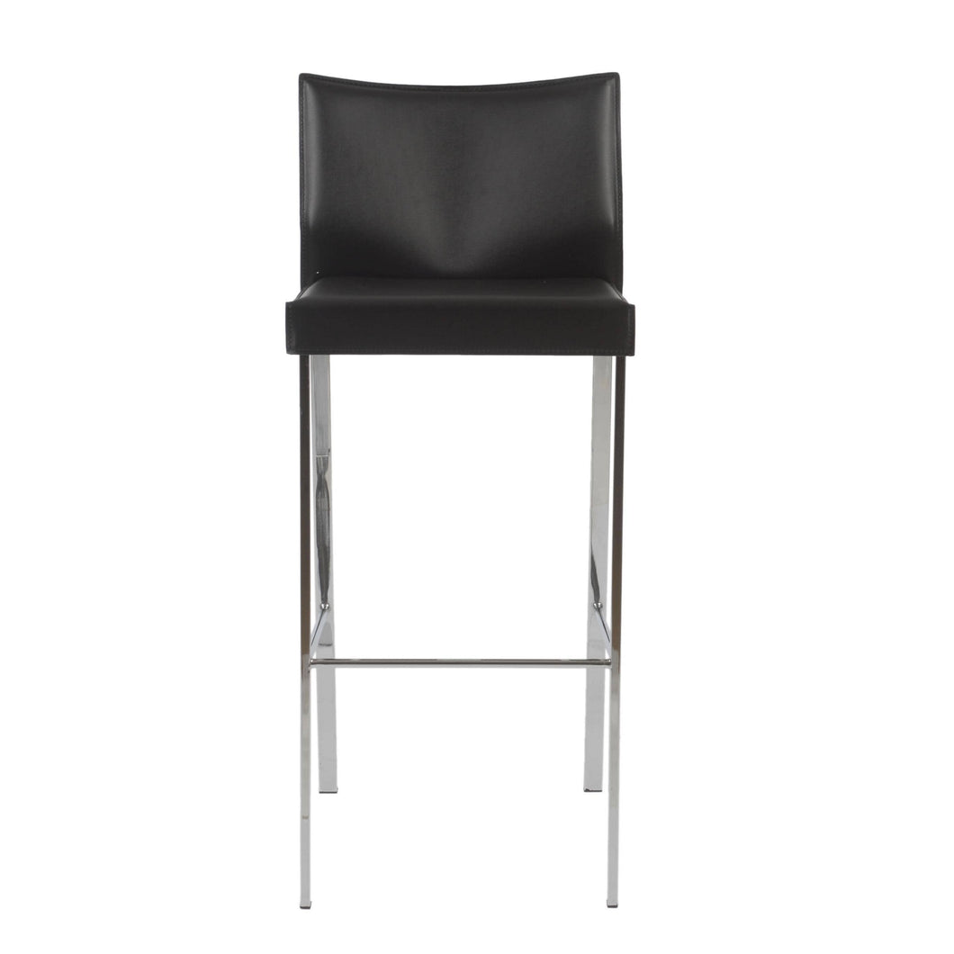 eurostyle Riley-B Bar Stool in Black with Chrome Legs  - Set of 2 17223BLK 727511911044