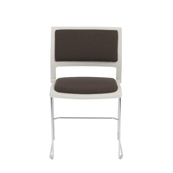 eurostyle Raylan Stacking Side Chair in Charcoal and Tan with Chrome Legs - Set of 4 17260CHAR 727511929575