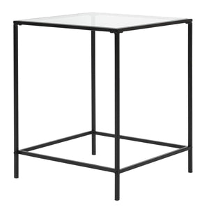 "eurostyle Arvi 18"" Side Table in Clear Glass with Black Base"