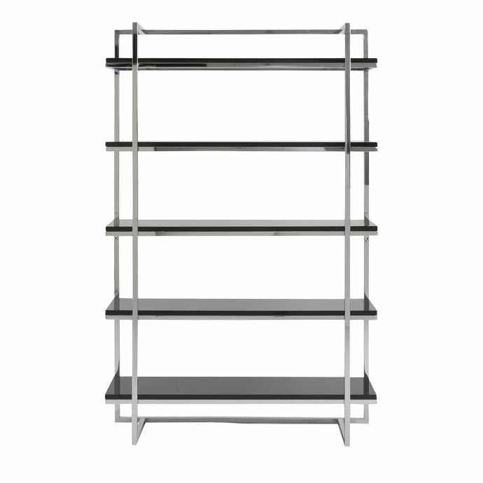Gilbert 5 Shelving Unit in Black with Chrome Frame