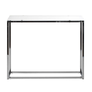 Sandor Console Table with Pure White Tempered Glass Top and Chrome Frame