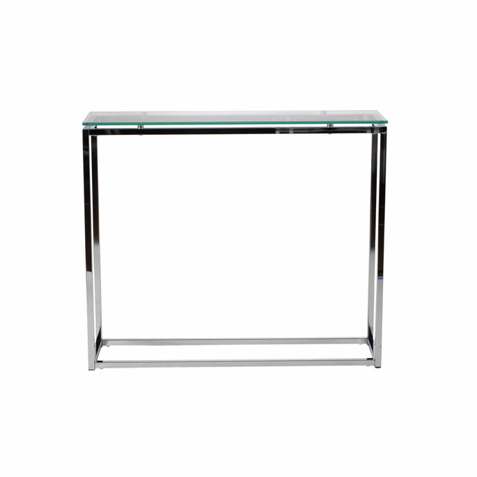 eurostyle Sandor Console Table with Clear Tempered Glass Top and Chrome Frame 28033 727511909621