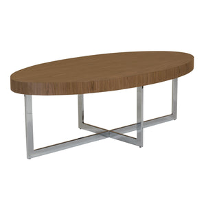 "eurostyle Oliver 48"" Oval Coffee Table in American Walnut with Polished Stainless Steel Base 28070-KIT 727511959626"