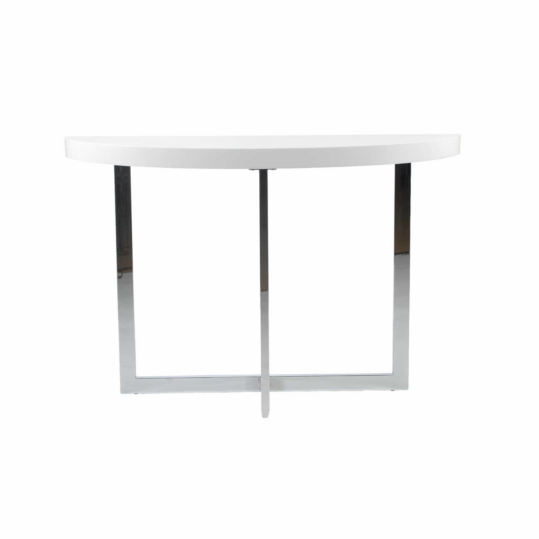 Oliver Console Table in White with Polished Stainless Steel Base