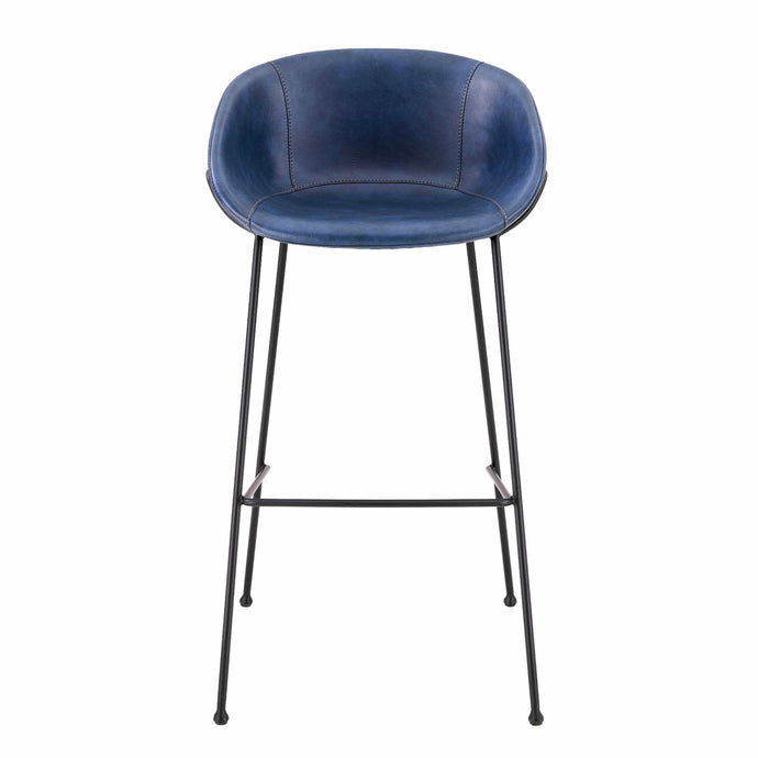 eurostyle Zach-B Bar Stool with Dark Blue Leatherette and Matte Black Powder Coated Steel Frame and Legs - Set of 2 30490DKBLU 727511963432