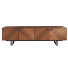 "Load image into Gallery viewer, Alvarado 71"" Media Stand in American Walnut with Brushed Stainless Steel Base"