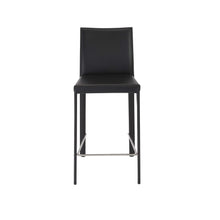 Load image into Gallery viewer, Hasina Counter Stool in Black with Polished Stainless Steel Legs - Set of 2