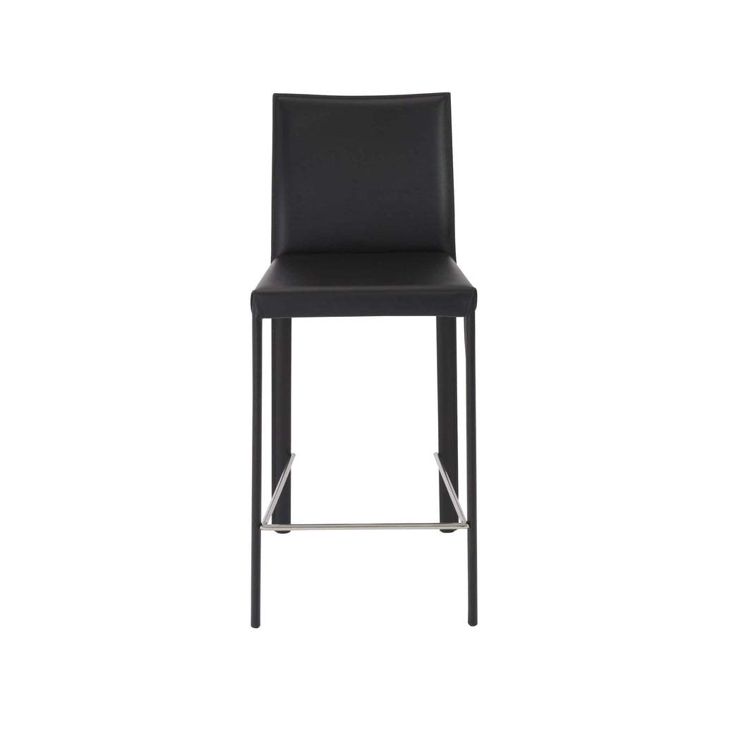 Hasina Counter Stool in Black with Polished Stainless Steel Legs - Set of 2