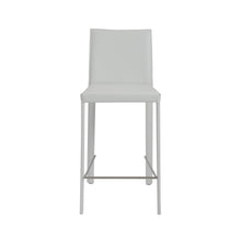Load image into Gallery viewer, Hasina Counter Stool in White with Polished Stainless Steel Legs - Set of 2