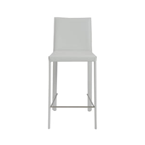 Hasina Counter Stool in White with Polished Stainless Steel Legs - Set of 2