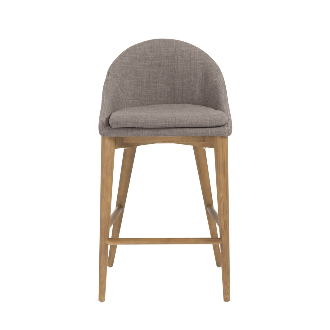 eurostyle Baruch Counter Stool in Dark Gray with Walnut Legs - Set of 1 38677DKGRY 727511936733