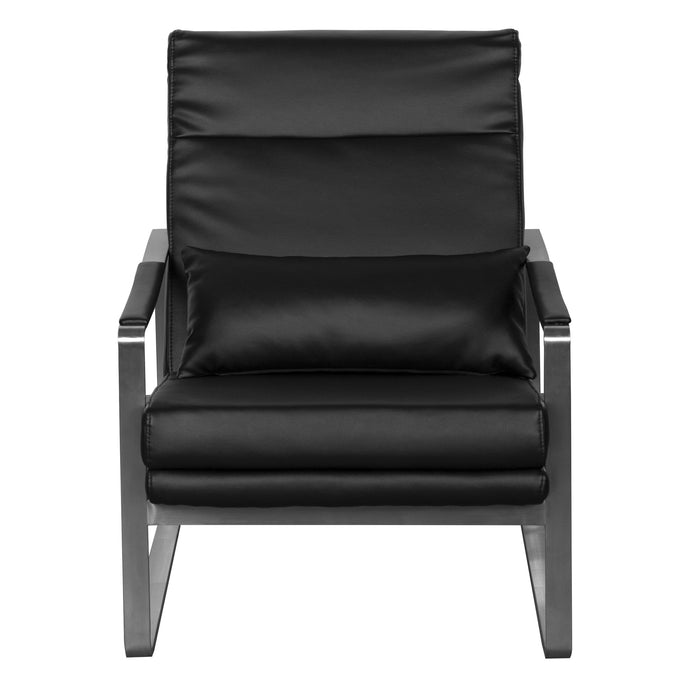 eurostyle Harrison Lounge Chair in Black with Brushed Stainless Steel Base 38770BLK 727511967218