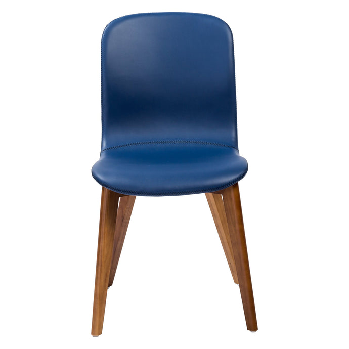 eurostyle Mai Side Chair in Blue Leatherette with Walnut Stained Solid Wood Legs - Set of 2 38880BLU-MP2 727511964446