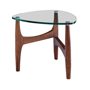 "eurostyle Ledell 24"" Side Table in Clear Glass and Walnut 38958CLR-KIT 727511971055"