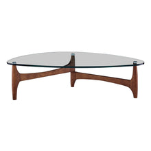 "Load image into Gallery viewer, eurostyle Ledell 51"" Coffee Table in Clear Glass with Walnut Base 38960CLR-KIT 727511971086"