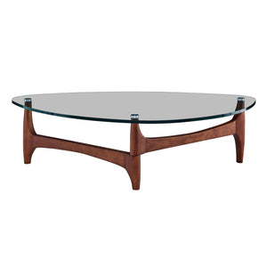 "eurostyle Ledell 51"" Coffee Table in Clear Glass with Walnut Base 38960CLR-KIT 727511971086"