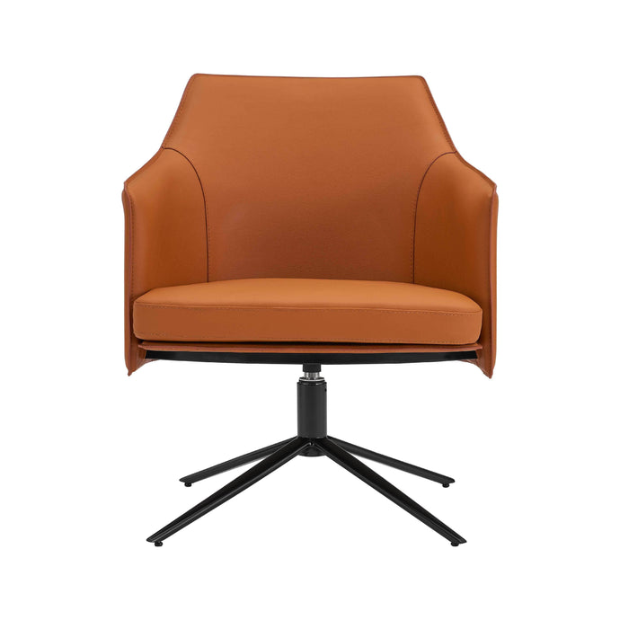 eurostyle Signa Lounge Chair in Cognac Leatherette and Regenerated Leather with Matte Black Steel Legs 38988COG 727511974056