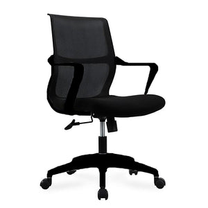 Airi Office Chair in Black Mesh and Fabric with Black Frame