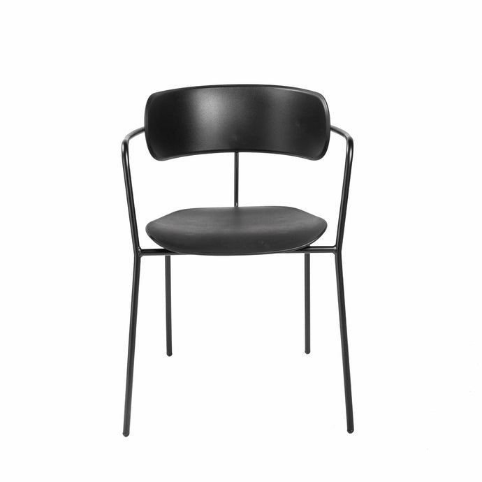 Paris Stacking Arm Chair in Black with Black Legs - Set of 4