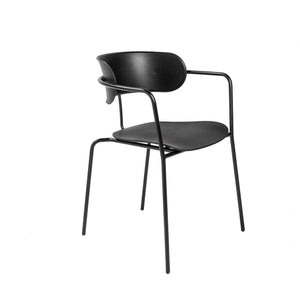 eurostyle Paris Stacking Arm Chair in Black with Black Legs - Set of 4 90158BLK 727511969649