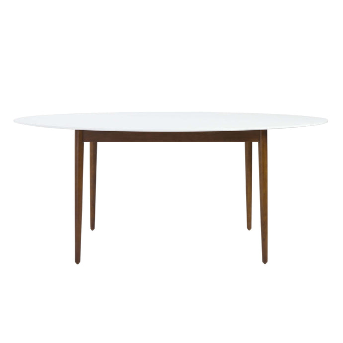 Manon Round Dining Table in Matte White with Dark Walnut Legs