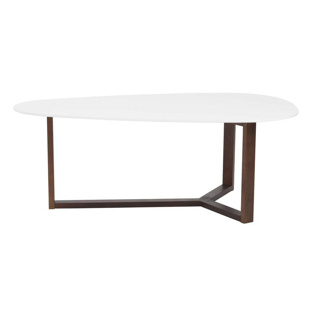 Morty Coffee Table in Matte White with Dark Walnut Base
